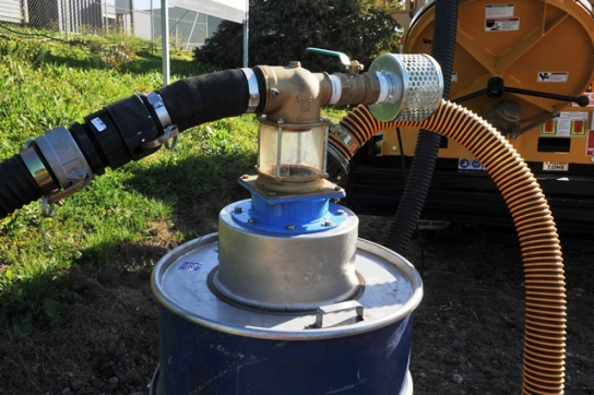 drum filling attachment, avoids overfilling soil drums with auto shut off